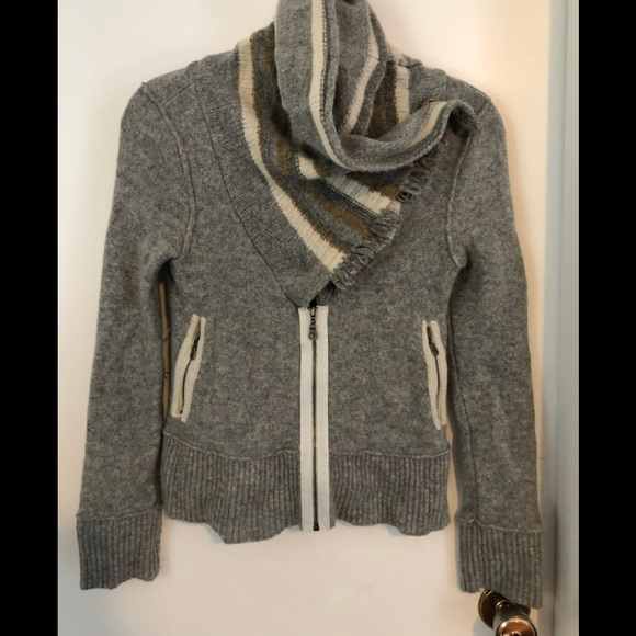 Free People 100% Wool Sweater - Zip Grey - Small